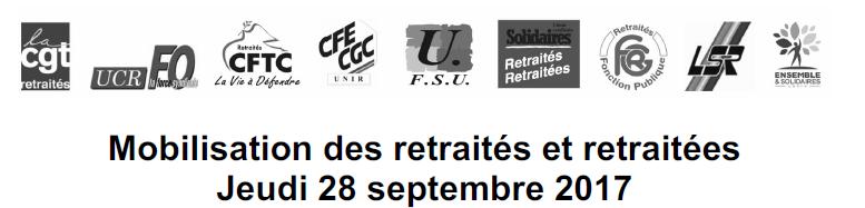 journée d'action des retraités 28 septembre