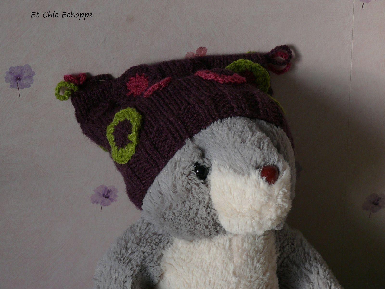 Bonnet 0-3 mois prune au tricot