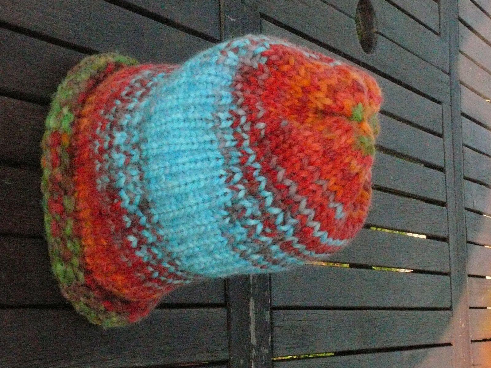 bonnet au tricotin géant