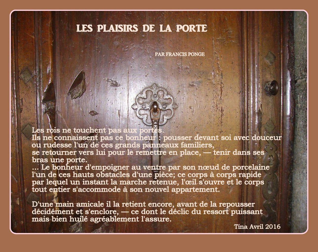 Les plaisirs de la porte par francis ponge ouvre moi la porte enrico macias - Chanson de ouvre moi la porte ...