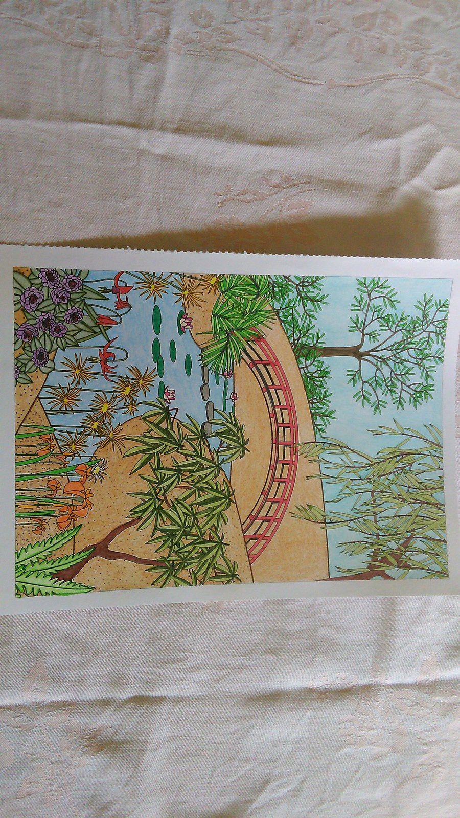4ème coloriage : pont au milieu du jardin - Lire avec ...
