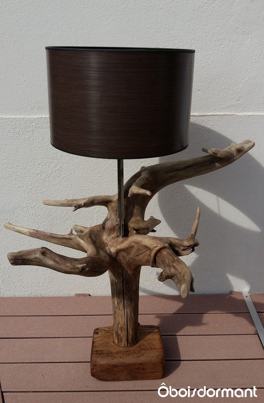 Grande lampe en bois flotté Oboisdormant