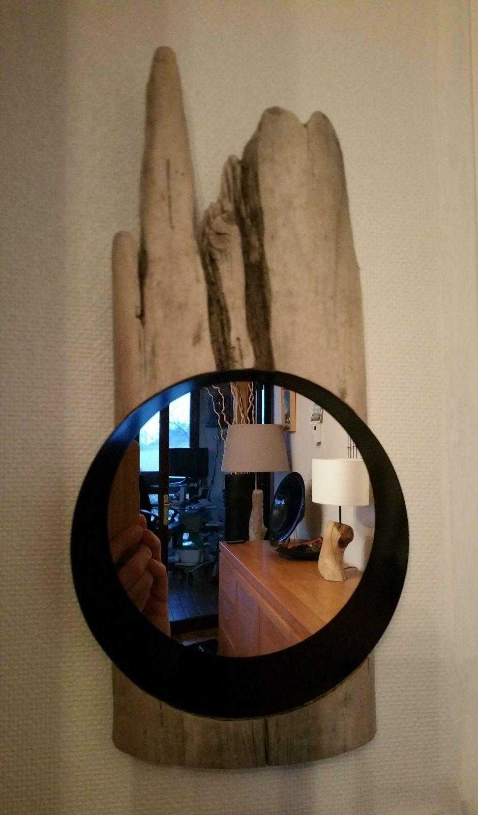 Miroir sur bois flotté