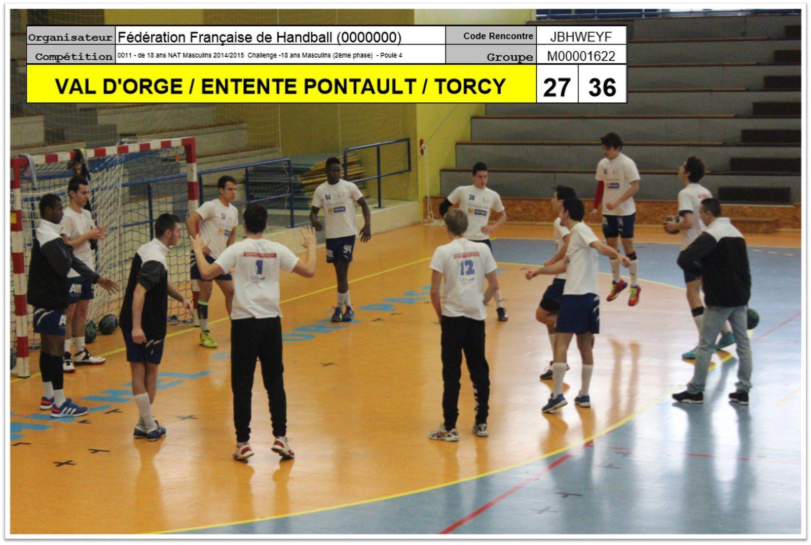 VAL D'ORGE vs ENTENTE PCT 77 (CdF -18M) 25.01.2015