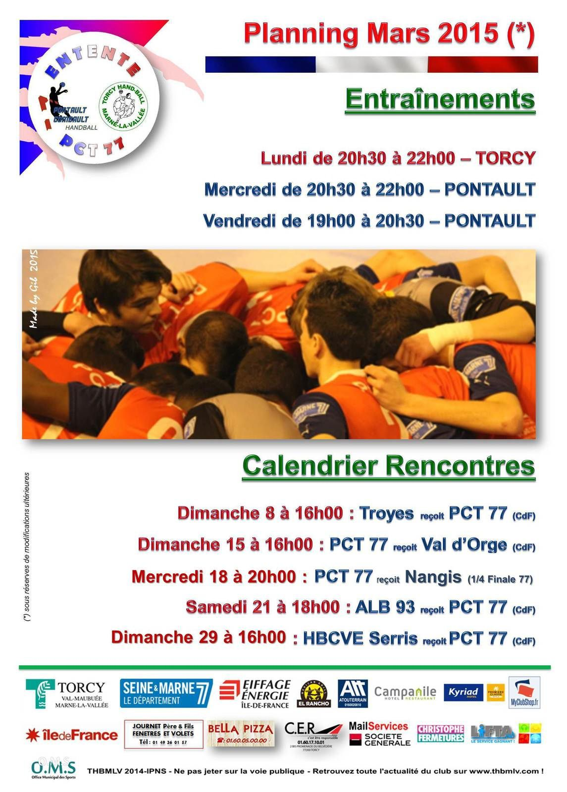 PLANNING PCT 77 -18 Ans Nationaux (Mars 2015)