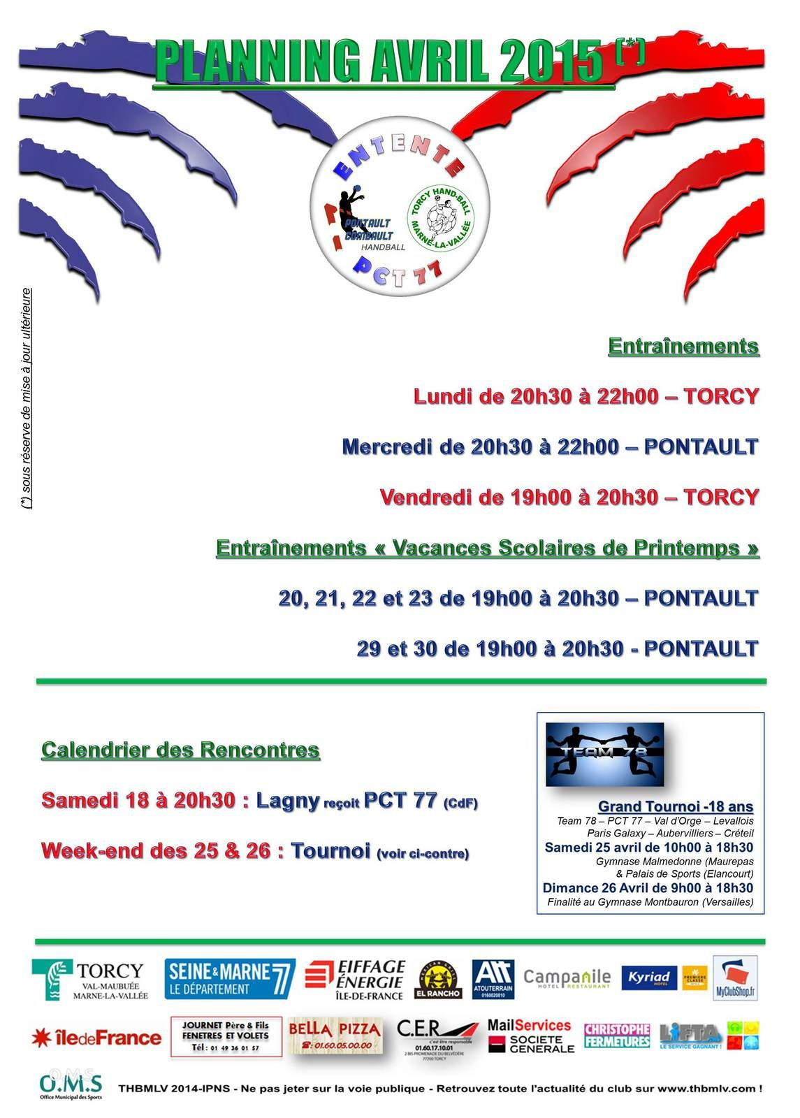 PLANNING PCT 77 -18 Ans Nationaux (Avril 2015)