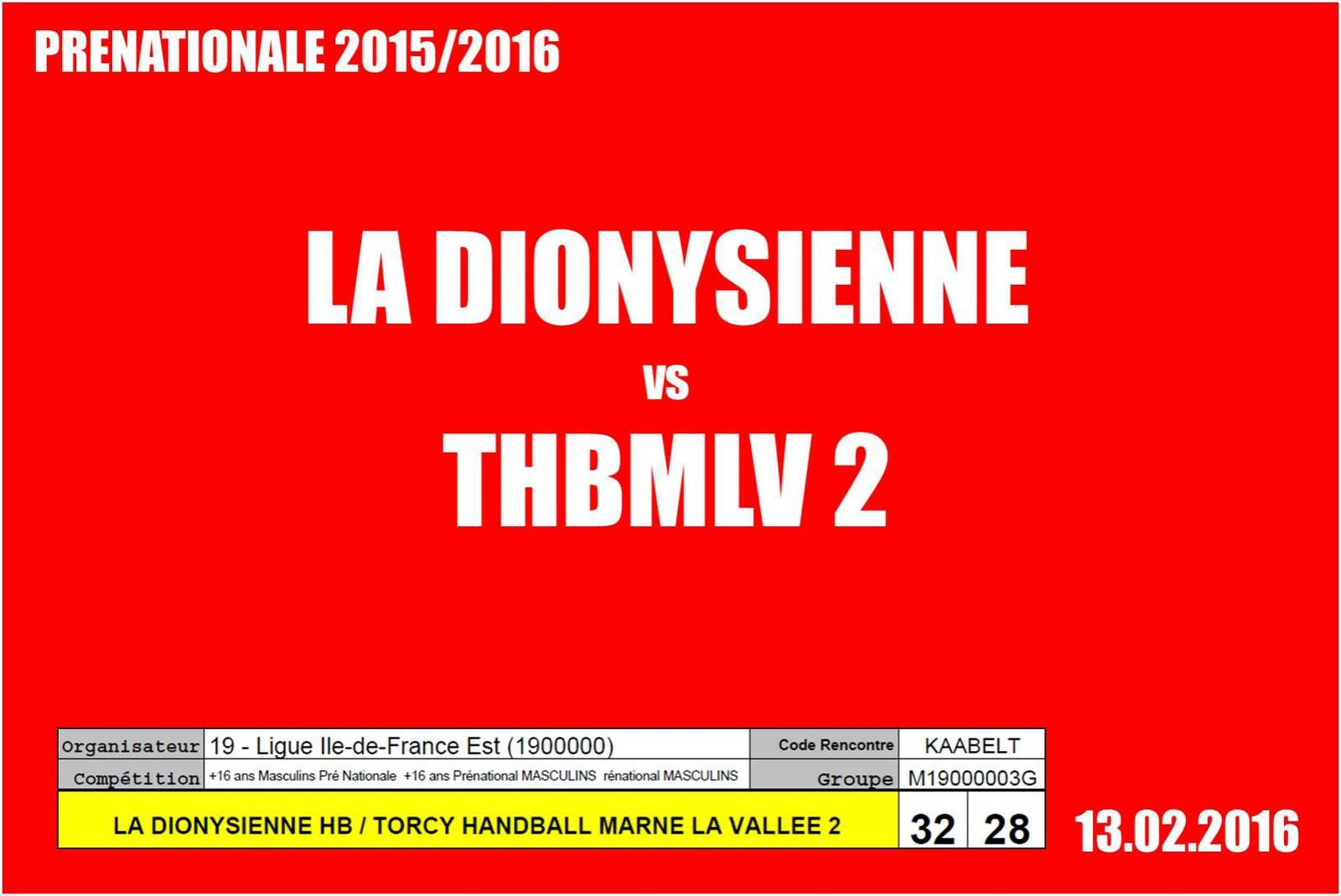 ST-DENIS vs THBMLV 2 (Pré-Nationale) 13.02.2016