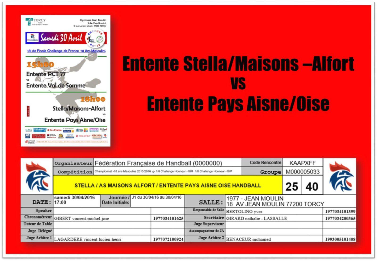 Tour Final CdF 2016 - Entente PAO vs Stella/ASA (30.04.2016)