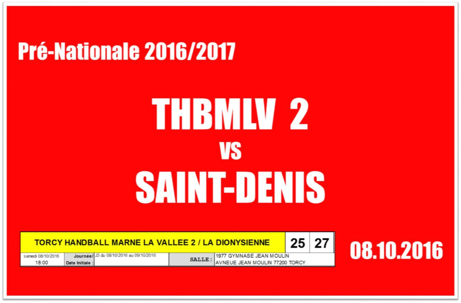 THBMLV 2 vs La Dionysienne (Pré-Nationale) 08.10.2016