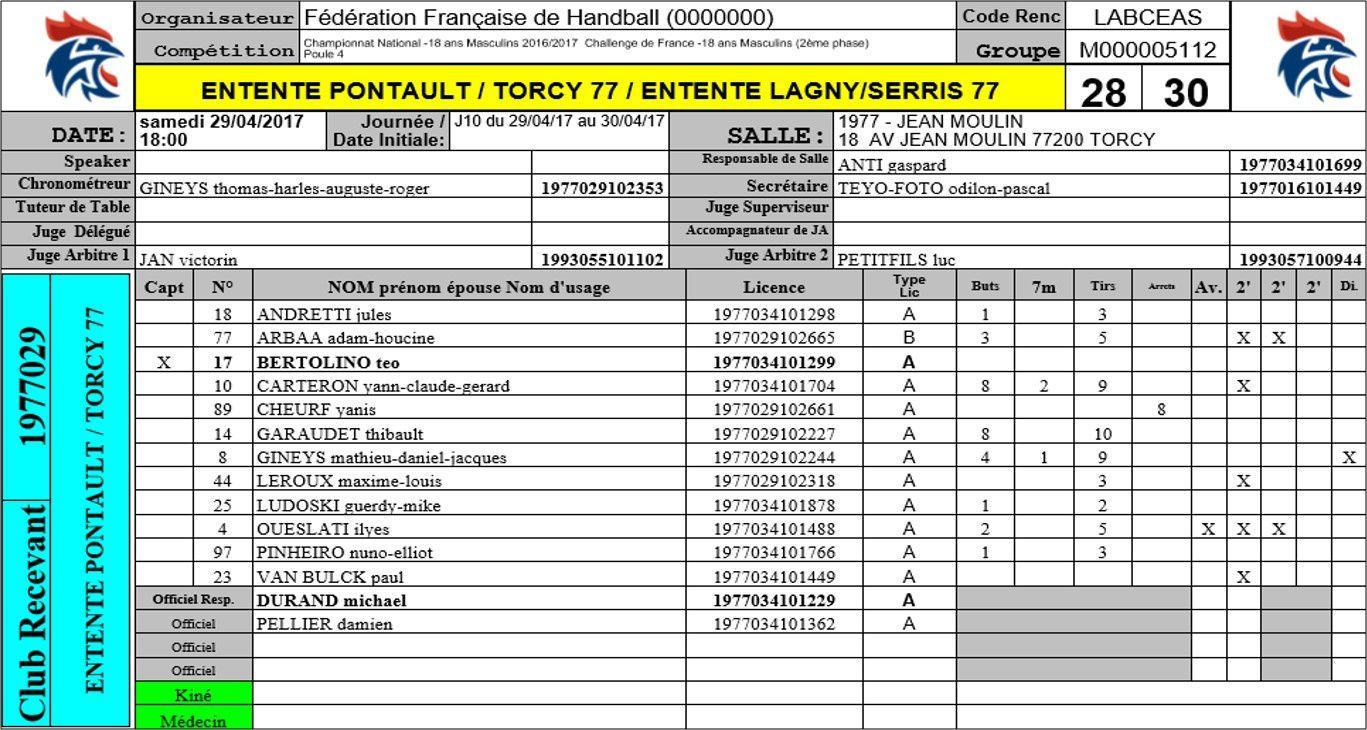PCT 77 vs Lagny/Serris (Challenge de France -18 Ans) 29.04.2017