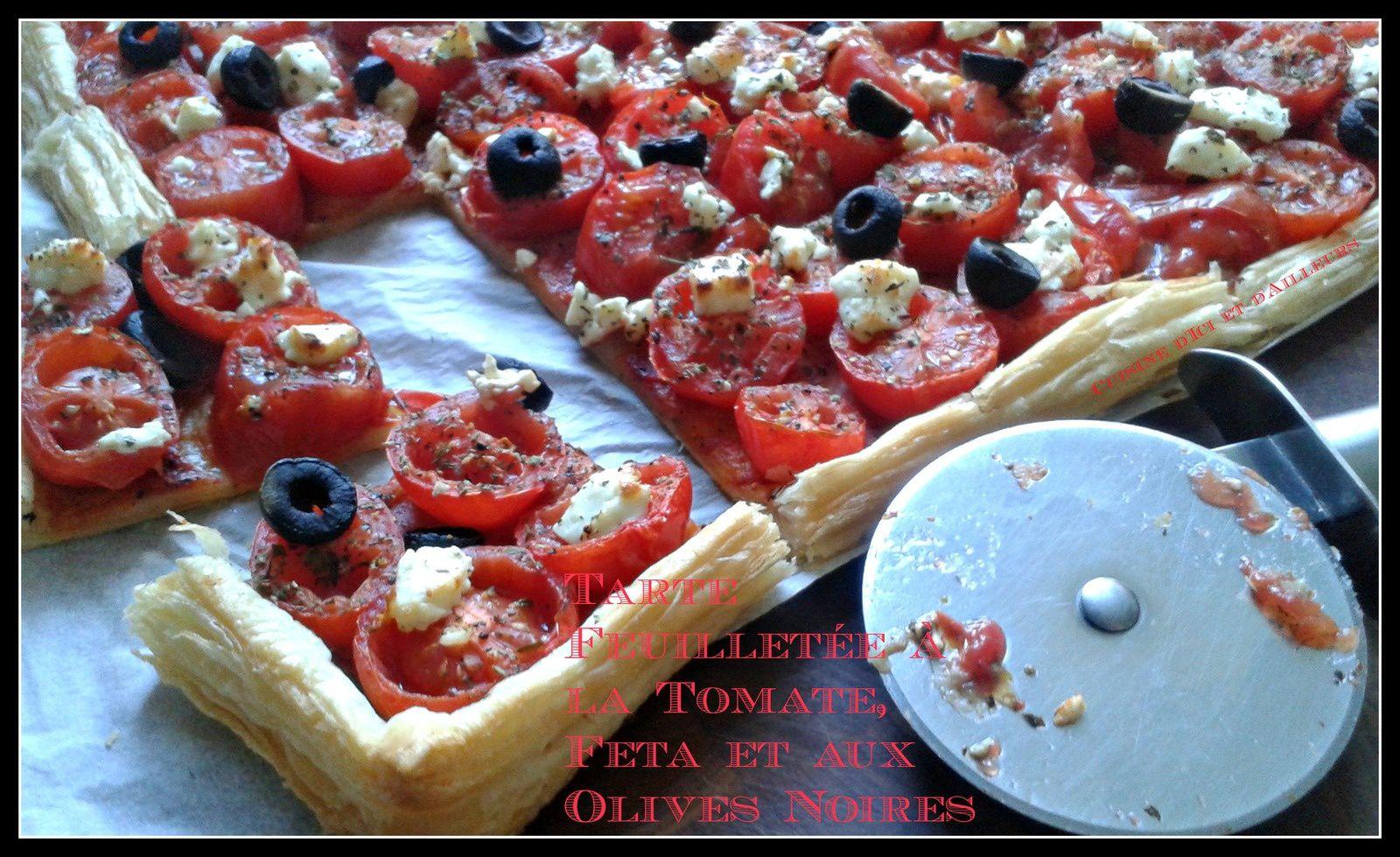 Tarte Feuilletée à la Tomate, Feta et aux Olives Noires