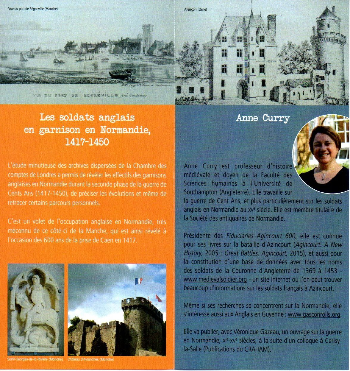 &quot&#x3B;LES SOLDATS ANGLAIS EN GARNISON EN NORMANDIE, 1417-1450&quot&#x3B;, CONFERENCE D'ANNE CURRY, CAEN, 2 SEPTEMBRE 2017,