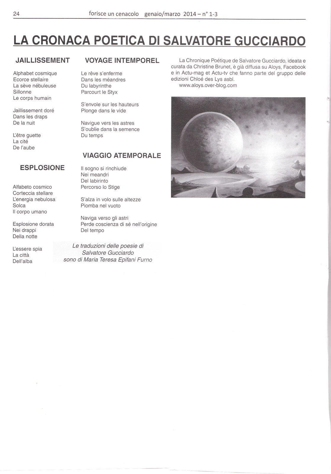 La Cronaca Poetica di Salvatore Gucciardo  dans le magazine italien Fiorisce un cenacolo 2014 n° 1-3