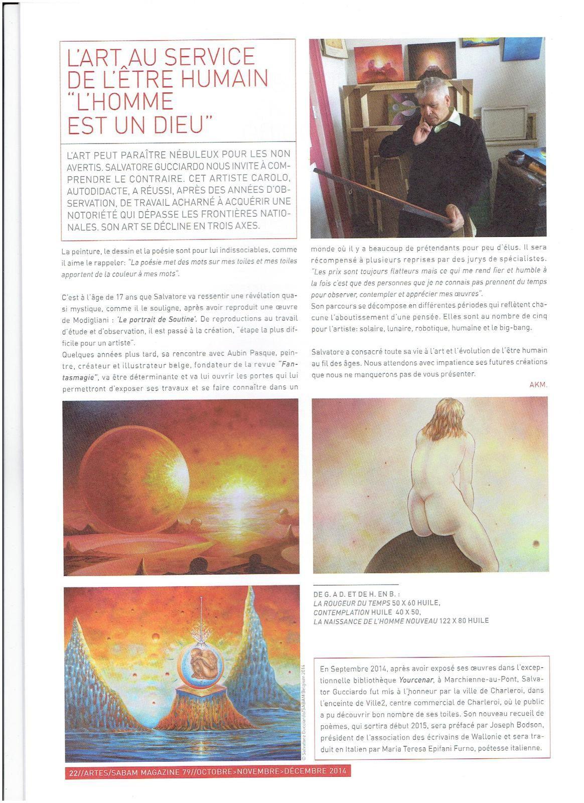 Salvatore Gucciardo et son livre méandres dans le magazine de la SABAM