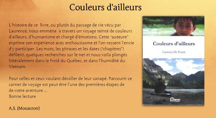 """Couleurs d'ailleurs de Laurence De Troyer est dans """"Plaisir et découvertes"""""""