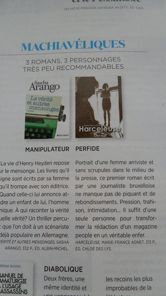 Harceleuse, le roman de Marie-France Adnet dans le magazine féminin &quot&#x3B;Gaël&quot&#x3B;