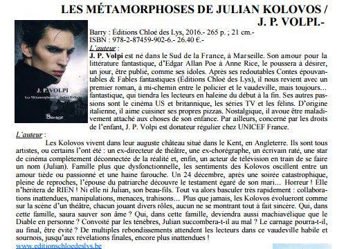 Les métamorphoses de Julian Kolovos de J.P. Volpi dans Le Bibliothécaire