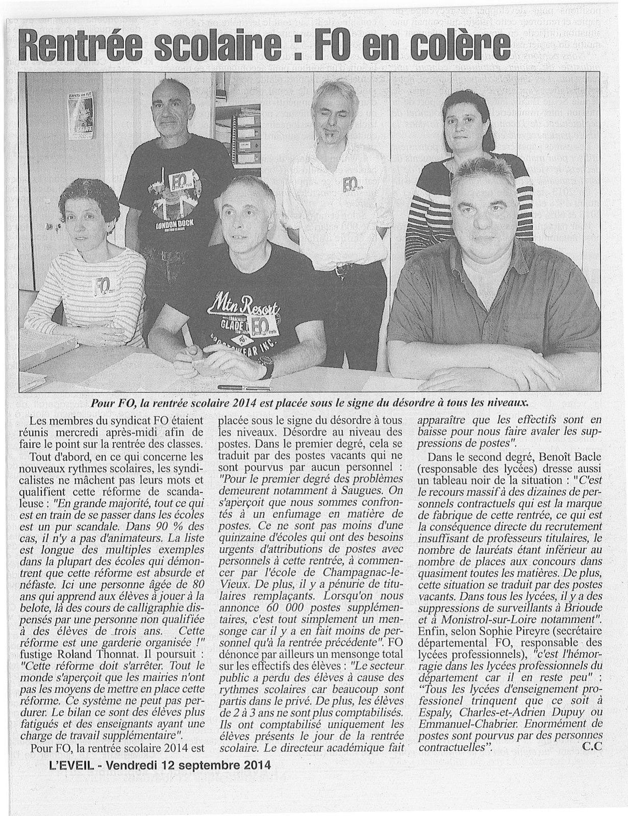 L'éveil de la Haute-Loire - article du 12 septembre 2014