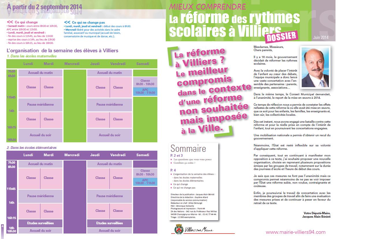Tout sur la réforme des rythmes scolaires à Villiers-sur-Marne