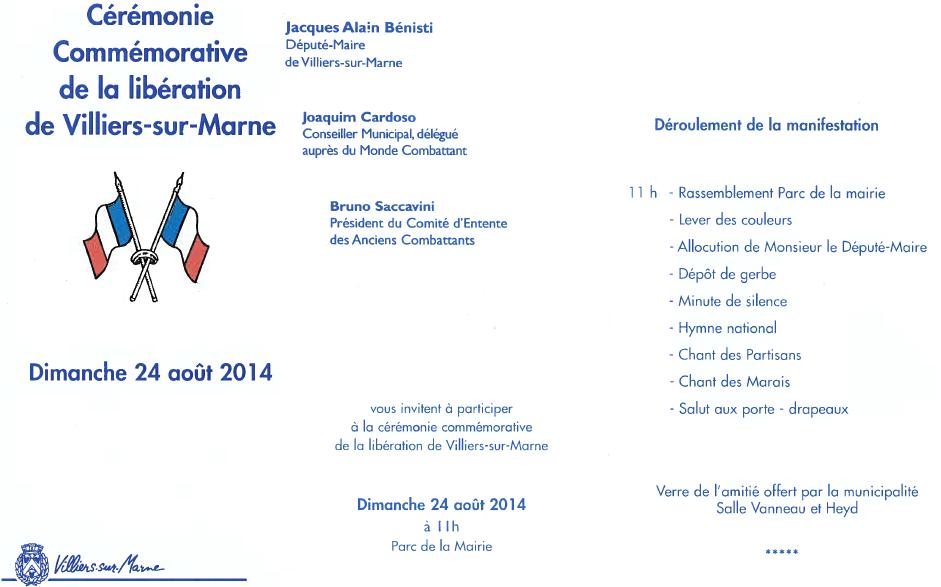 24 Août 2014 : Cérémonie commémorative de la libération de Villiers-sur-Marne