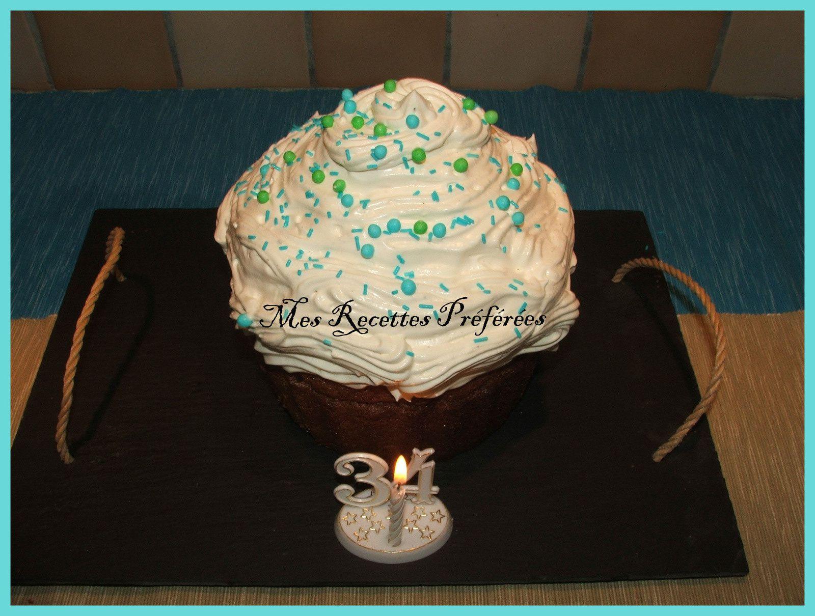 Cupcake géant pour l'anniversaire de mon doudou