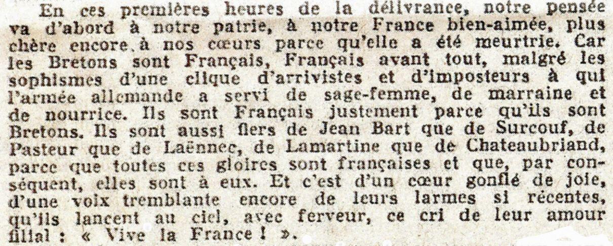 Extrait du premier éditorial d'Ouest-France (7 août 1944).