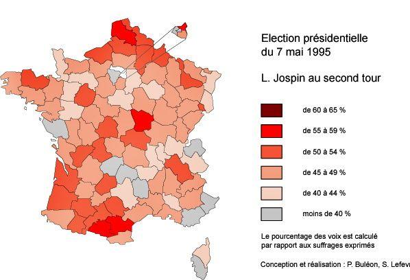 Au deuxième tour de 1995, les cinq départements bretons dr retrouvent en bloc dans le vote pour Jospin. Les suffrages des trois autres candidats de gauche ou écologiste (D. Voynet) ne se sont pas forcément tous retrouvés sur son nom.