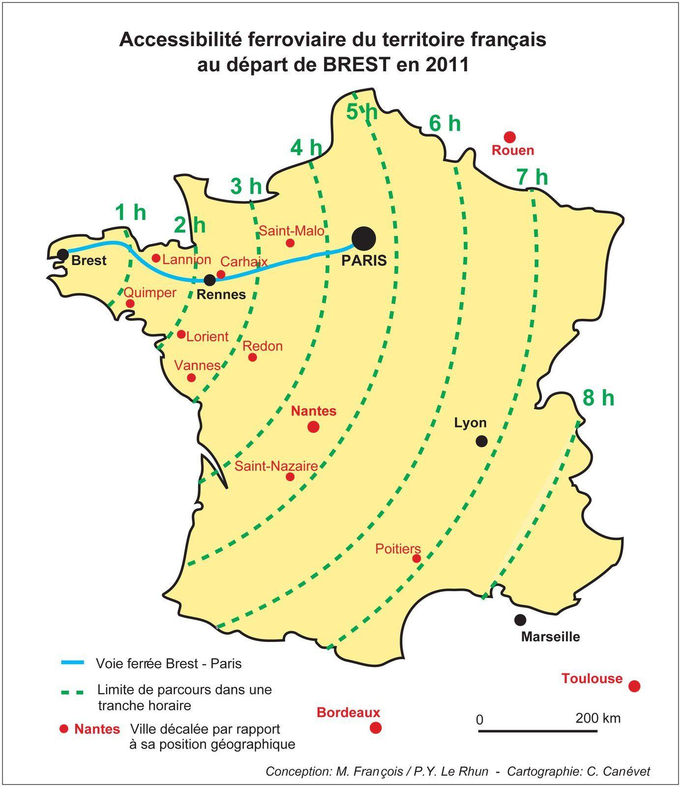 Effet relatif d'éloignement entre Brest et de son environnement dû à l'accélération prioritaire des relations avec Paris (l'effet est similaire pour les autres extrémités de lignes TGV), mais l'exemple de Brest met en lumière les conséquences de cette politique en Bretagne.