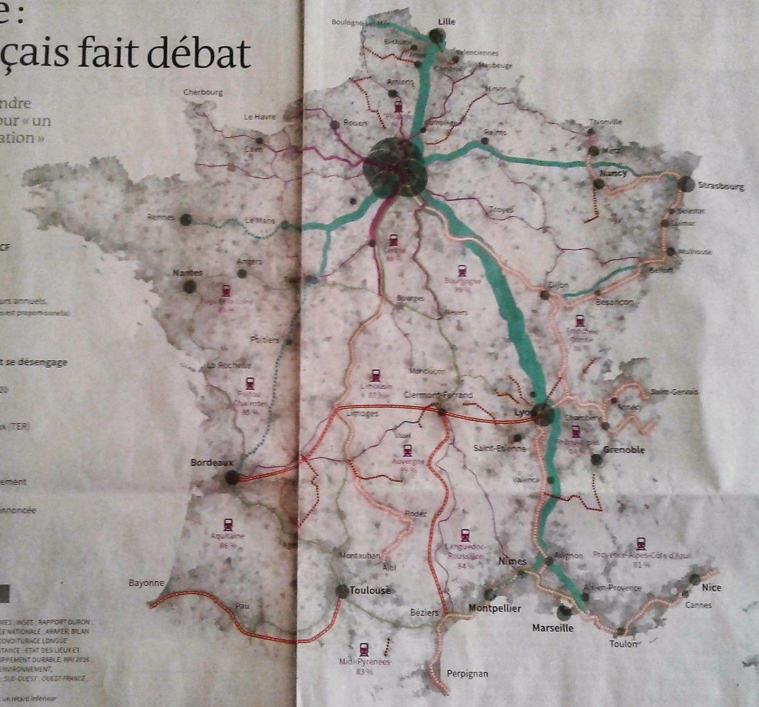 Carte des lignes ferroviaires françaises publiée le 24 mars 2017 par Le Monde. Merci d'excuser la mauvaise qualité de ma copie.
