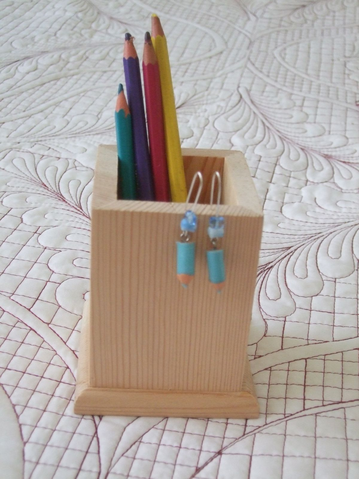 Les crayons d'Amélie - Boucles d'oreilles crayons de couleur bleu turquoise