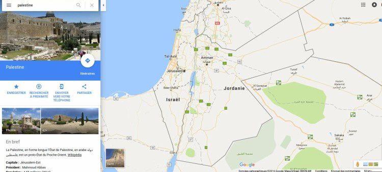 Disparitions de la Cisjordanie et des teritoires palestiens des Google maps - pourquoi ?