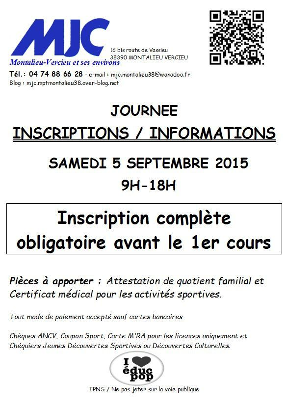 Journée Inscription Samedi 5 Septembre