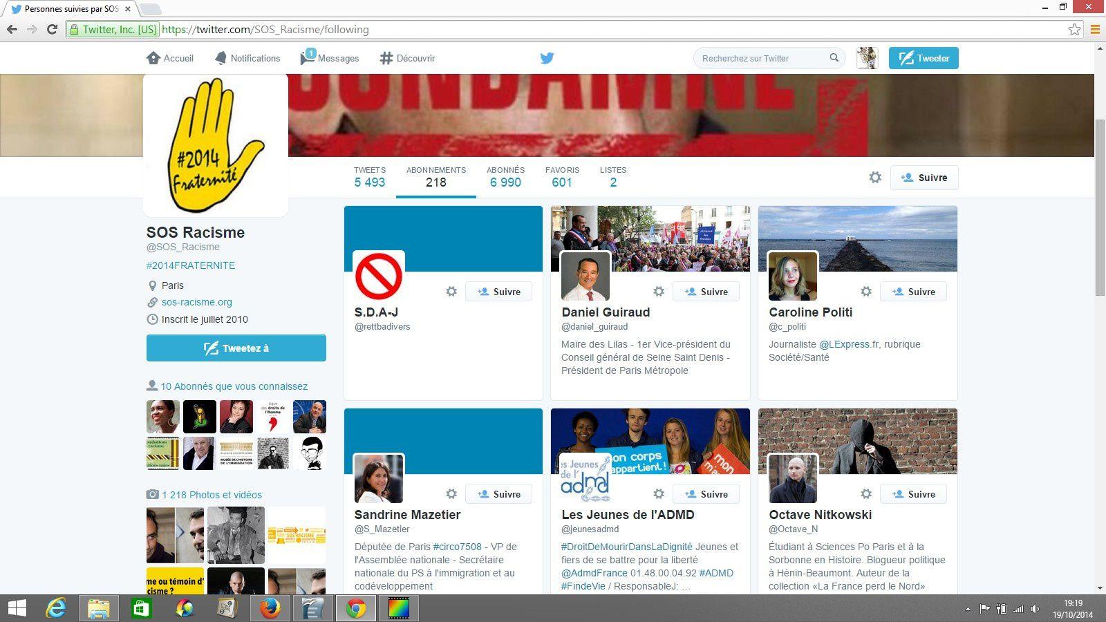 Twitter, la LICRA, le MRAP, etc., et la lutte contre le racisme.