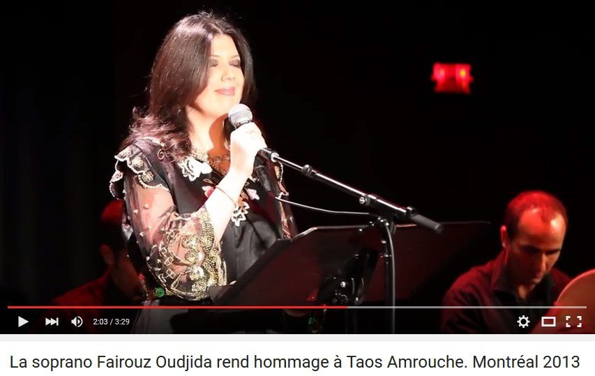 La soprano Fairouz Oudjida rend hommage à Taos Amrouche. Montréal 2013