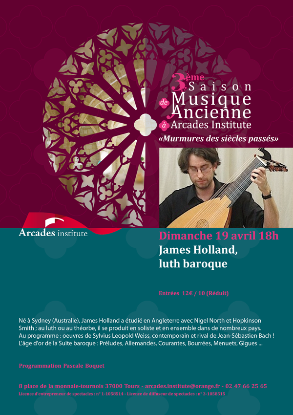 Dimanche 19 avril : James Holland, luth baroque.