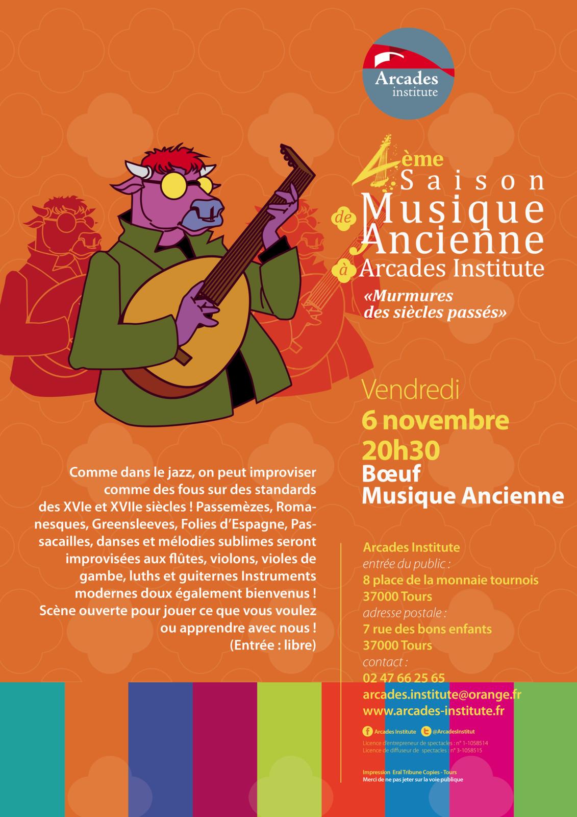 Ven. 6 Novembre 20h30 Bœuf de Musique Ancienne