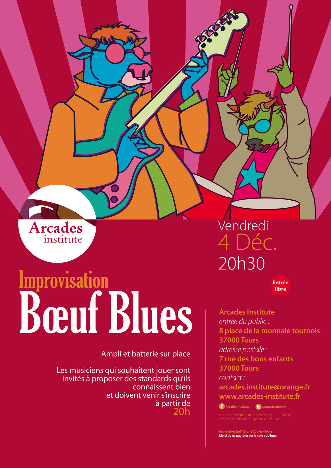 Ven. 4 déc. 20h30 Bœuf blues à Arcades Institute