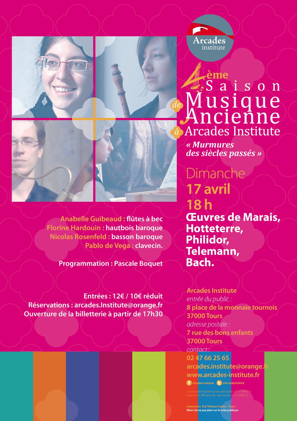 Dimanche 17 avril à 18h.  Œuvres de Marais, Hotteterre, Philidor, Telemann, Bach.