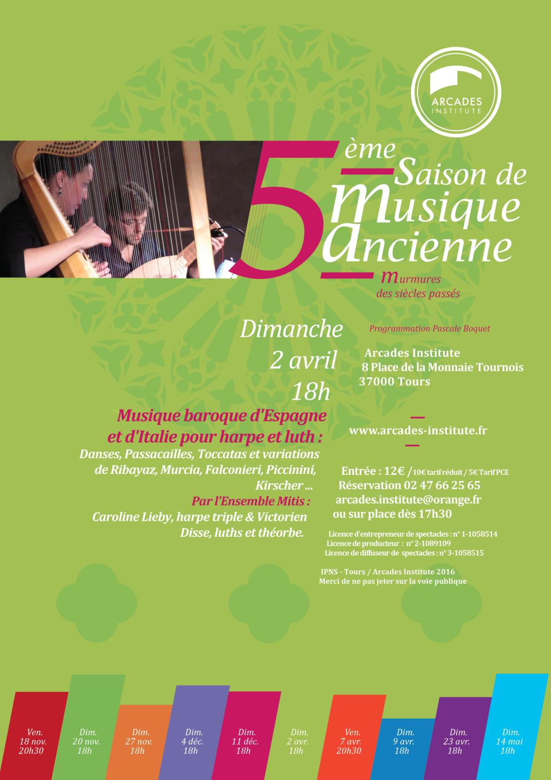 dimanche 2 Avril 18h  Musique Baroque Espagnole et Italienne