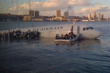 Photo 1. USAir flight 1549 in the Hudson River, posted on Twitter
