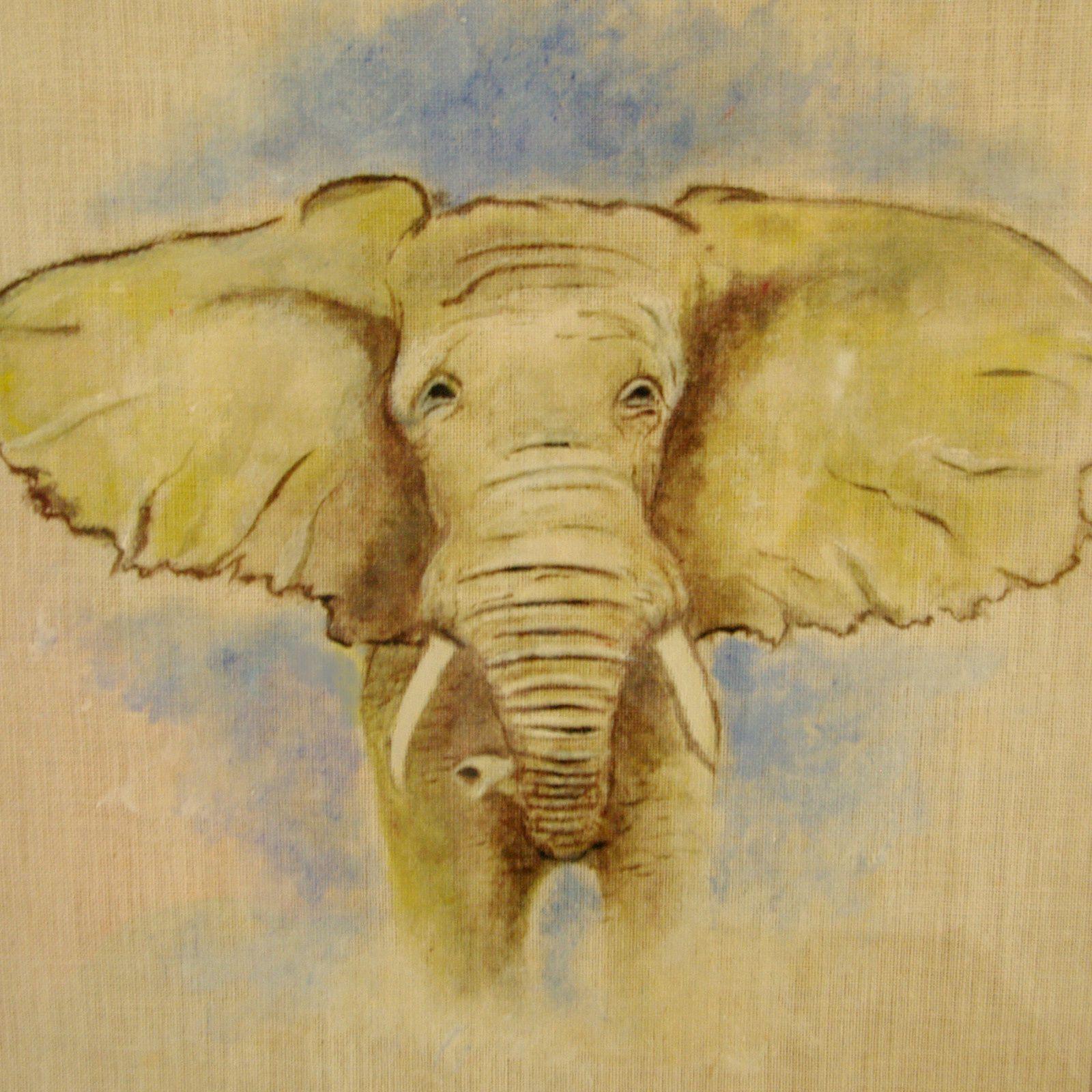Éléphant Réalisé Avec La Technique De La Tempera ...