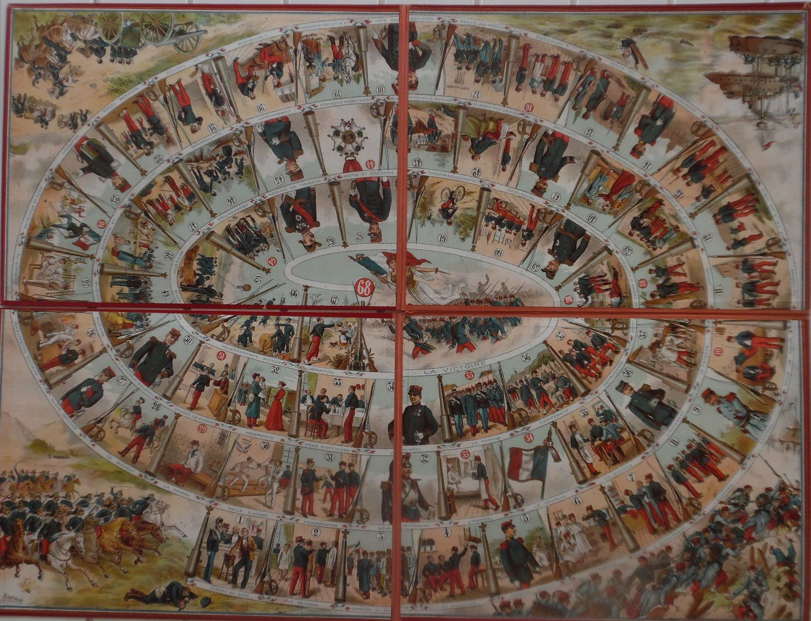Le Régiment, plateau de jeu de 68 cases numérotées