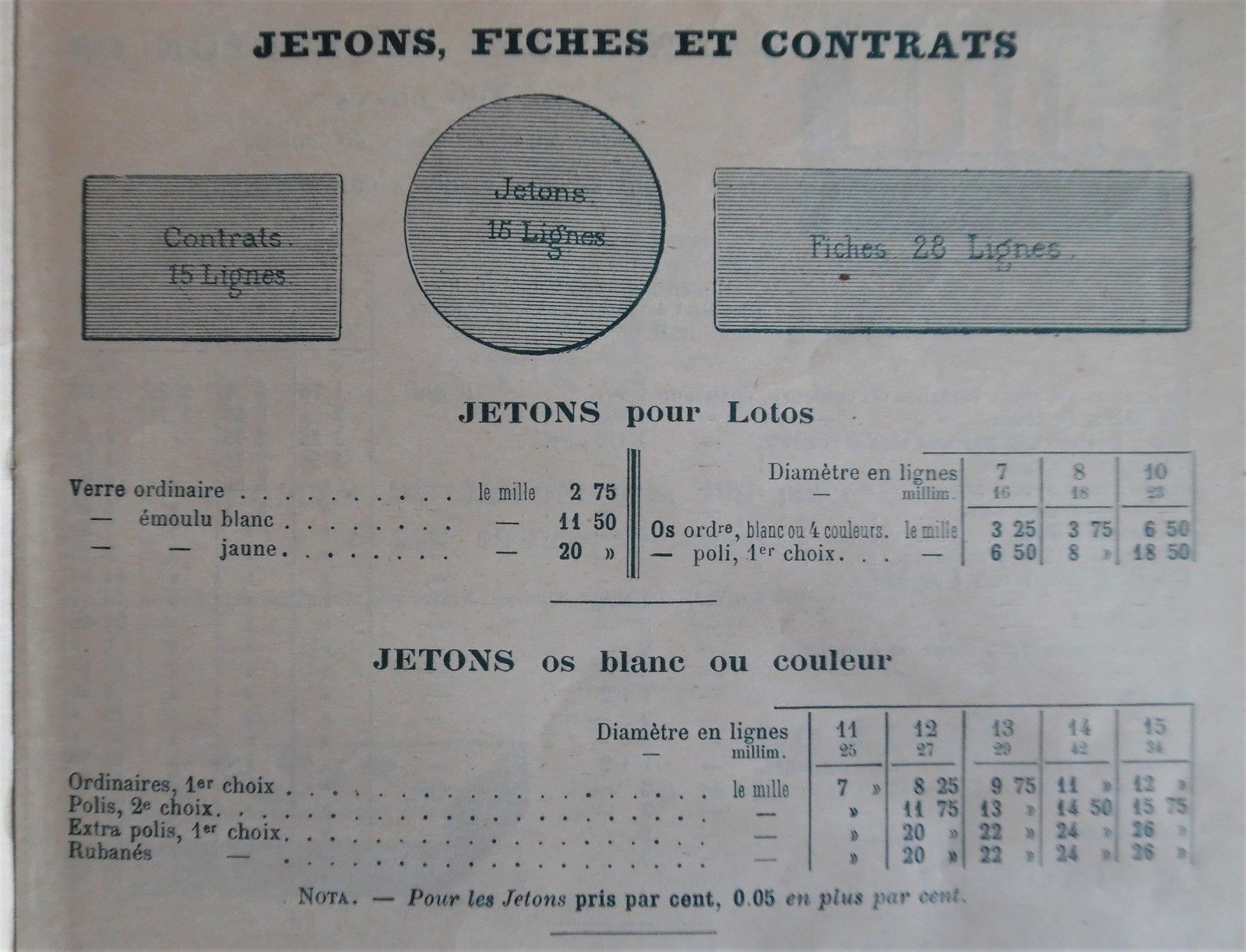 jetons, catalogue MD de 1898