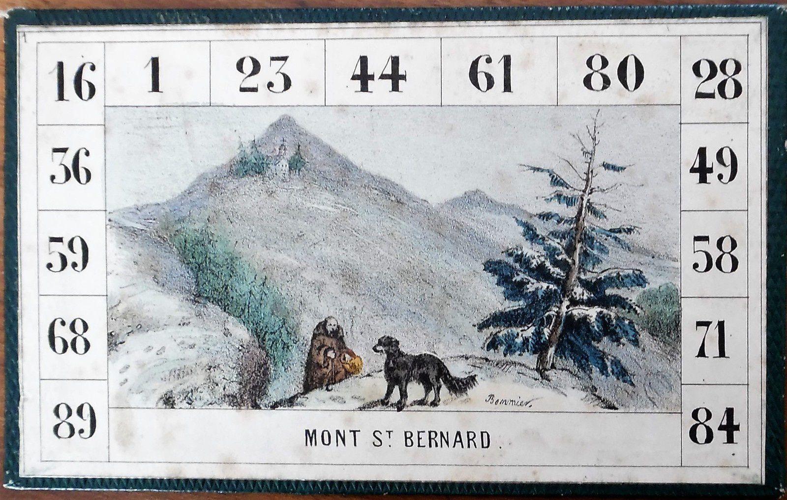 loto géographique, carton n°1 portant la signature de Bommier