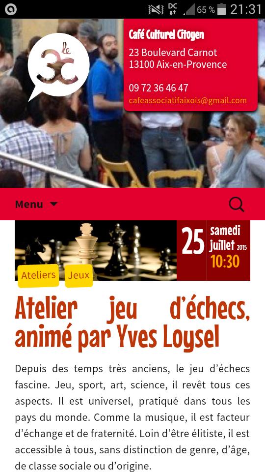 Atelier jeu d'échecs, animé par Yves Loysel