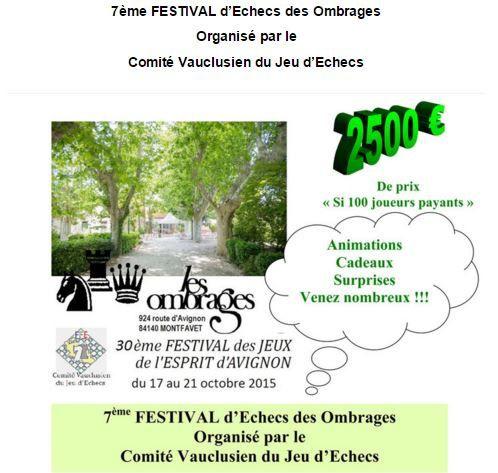 7eme Festival des Ombrages à Avignon - Les résultats de l'ERR