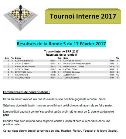 Tournoi Interne ERR : Ronde 6