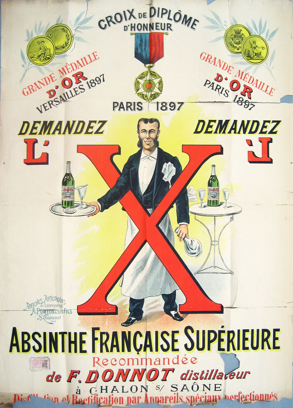 Affiche pour l'absinthe X de Donnot. Collection Delahaye.
