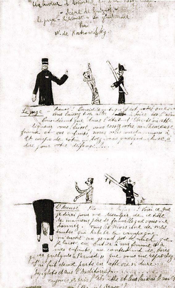 Dessin illustrant la saynette Un Buveur d'absinthe qui a lu Victor Hugo. Collection Pierre et Franca Belfond. Mis en vente par Artcurial le 14 février 2012.