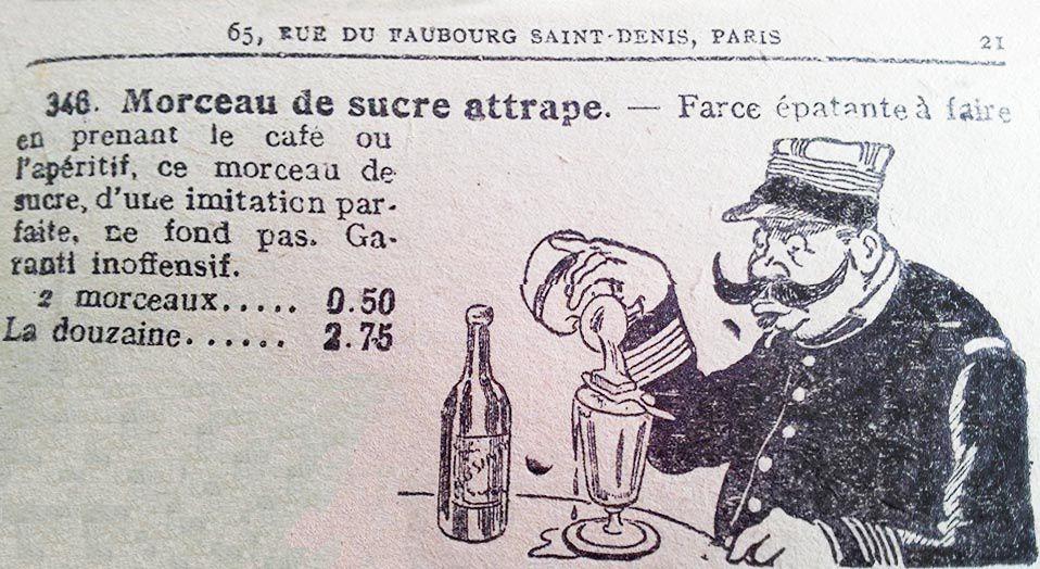 Petite blague à faire à un consommateur d'absinthe. Collection V. Ledoux.